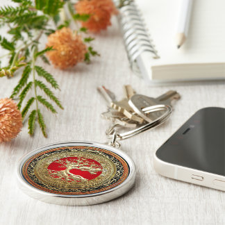 [500] Treasure Trove: Celtic Tree of Life [Gold] Silver-Colored Round Keychain