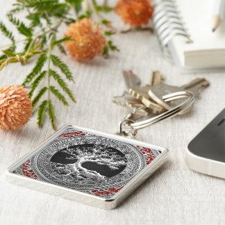 [500] Treasure Trove: Celtic Tree of Life [Silver] Silver-Colored Square Keychain