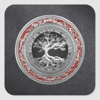 [500] Treasure Trove: Celtic Tree of Life [Silver] Square Sticker