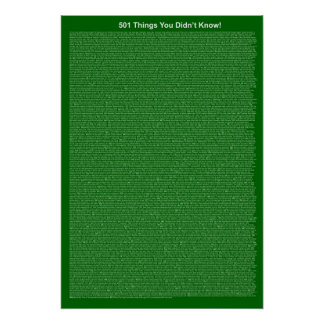 501 Things You Didn't Know (Dark Green) Poster