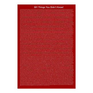 501 Things You Didn't Know (Dark Red) Poster