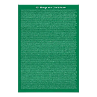 501 Things You Didn't Know (Dark Sea Green) Poster