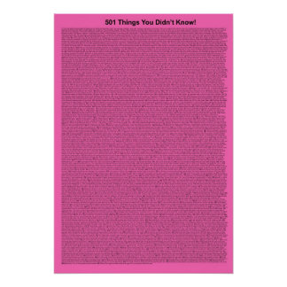 501 Things You Didn't Know (Pink Intense) Poster
