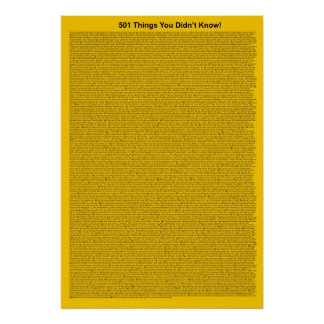 501 Things You Didn't Know (Yellow Gold) Poster