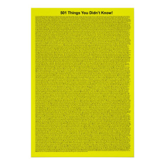 501 Things You Didn't Know (Yellow) Poster