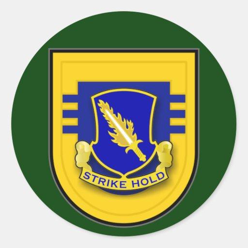 504o Regimiento de infantería - flash del batallón Pegatina Redonda