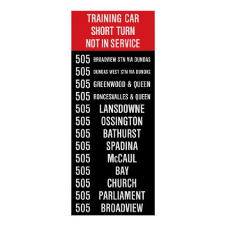 505 DUNDAS Replica TTC Streetcar Rollsign Poster