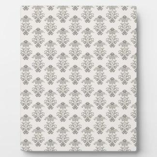 506_fancy-gray-paper LIGHT GREY GRAY SCROLL PATTER Plaque