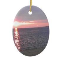 507 sunset lake beach ceramic ornament