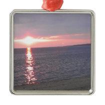 507 sunset lake beach metal ornament