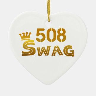 508 Massachusetts Swag Ceramic Ornament
