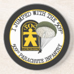 "509th PIR Sandstone Coaster<br><div class=""desc"">Design features the 509th Parachute Infantry Regiment,  Geronimo patch,  available on long or short sleeve t-shirts,  sweatshirts,  mugs,  hats,  stickers,  apparel or gift items. Please visit our Store!</div>"
