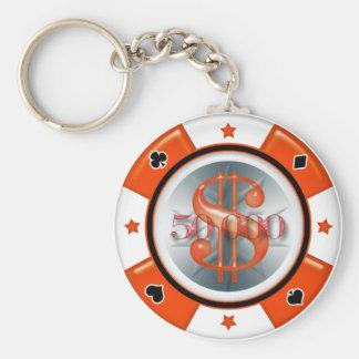 $50,000.00 Poker Casino Gambling Chip Basic Round Button Keychain
