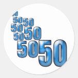 50 50 50 ROUND STICKERS