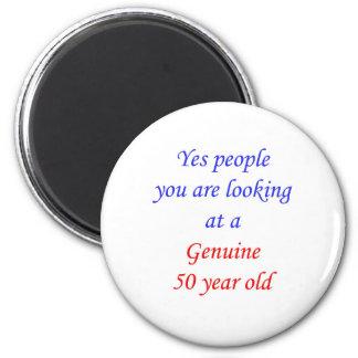 50 50 años auténticos imán redondo 5 cm