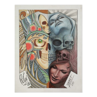 50/50 TATTOO ART repro Poster