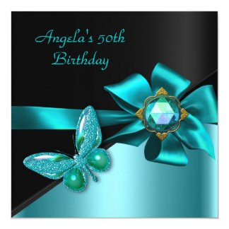 50 50th Birthday Party Teal Blue Butterfly Card