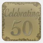 50.a celebración afiligranada de oro calcomania cuadradas personalizada