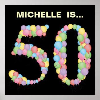 50.a decoración de la fiesta de cumpleaños de los póster