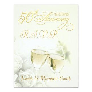"""50.a fiesta de aniversario - tarjetas de invitación 4.25"""" x 5.5"""""""