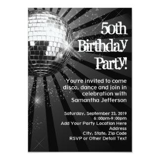 """50.a fiesta de cumpleaños de la bola de discoteca invitación 4.5"""" x 6.25"""""""