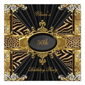 """50.a fiesta de cumpleaños de la cebra del leopardo invitación 5.25"""" x 5.25"""""""
