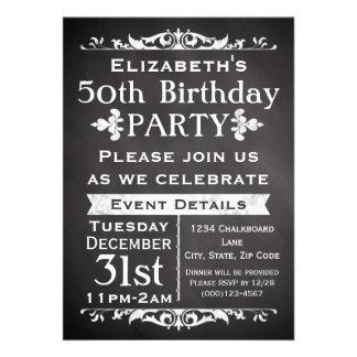50.a fiesta de cumpleaños de la pizarra rústica de anuncio
