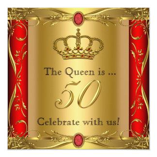 """50.a fiesta de cumpleaños de la reina o de rey invitación 5.25"""" x 5.25"""""""