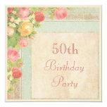50.a fiesta de cumpleaños de los rosas elegantes anuncio