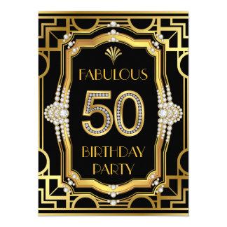 """50.a fiesta de cumpleaños del art déco invitación 5.5"""" x 7.5"""""""