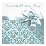 50.a fiesta de cumpleaños del azul elegante del tr anuncio personalizado