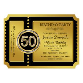 """50.a fiesta de cumpleaños del boleto de oro invitación 5"""" x 7"""""""