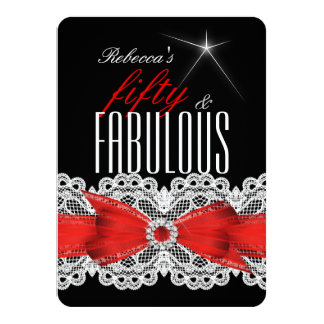 50.a fiesta de cumpleaños del negro rojo fabuloso invitación personalizada