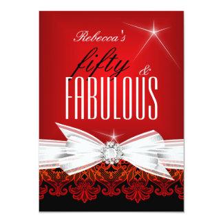 50.a fiesta de cumpleaños del negro rojo fabuloso comunicados personalizados