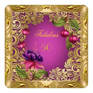50.a fiesta de cumpleaños del oro rosado fucsia invitación