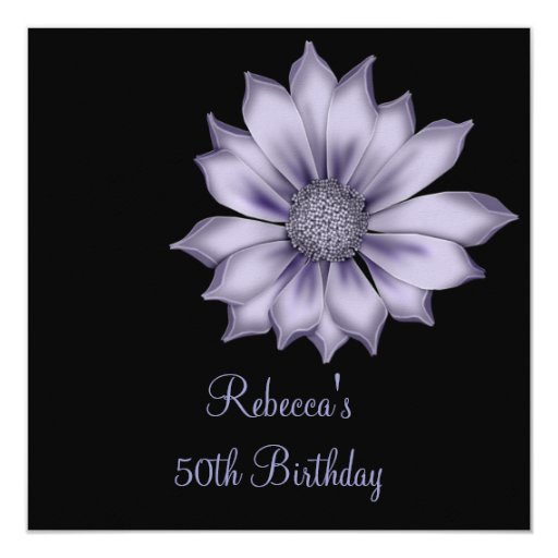 """50.a fiesta de cumpleaños elegante de la flor de invitación 5.25"""" x 5.25"""""""