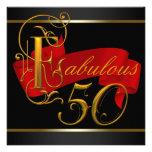50.a fiesta de cumpleaños fabulosa negra y roja invitación