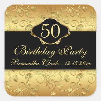 50.a fiesta de cumpleaños floral de oro calcomanía cuadrada