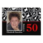 50.a foto del cumpleaños del estampado leopardo invitación 12,7 x 17,8 cm