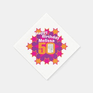 50.a foto del cumpleaños y servilletas rosadas servilleta desechable