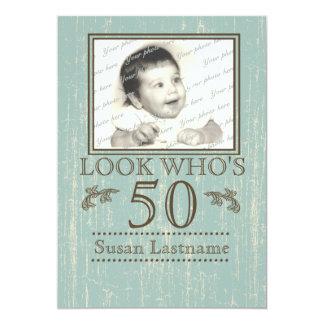 50.a foto envejecida del cumpleaños de madera invitación 12,7 x 17,8 cm