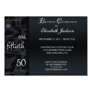50.a invitación de la fiesta de cumpleaños del invitación 12,7 x 17,8 cm