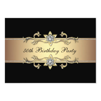 50.a invitación del cumpleaños de la mujer negra invitación 12,7 x 17,8 cm