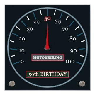 50.a invitación del cumpleaños de Motorbiking