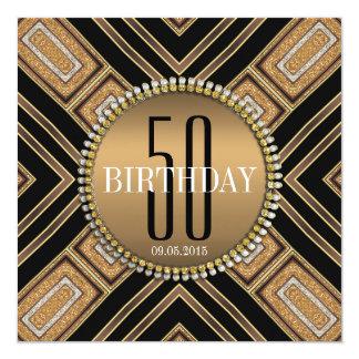 50.a invitación del cumpleaños del oro moderno del invitación 13,3 cm x 13,3cm