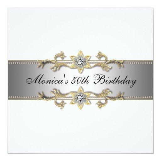 50.a invitación elegante cincuenta del cumpleaños