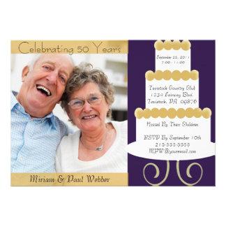 50 a invitación única del aniversario con la foto