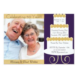 50.a invitación única del aniversario con la foto invitación 12,7 x 17,8 cm