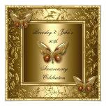 50.a mariposa elegante del oro del aniversario de invitaciones personalizada
