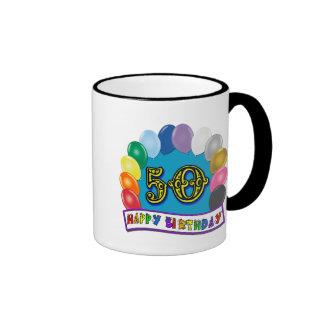 50.a mercancía feliz del cumpleaños taza